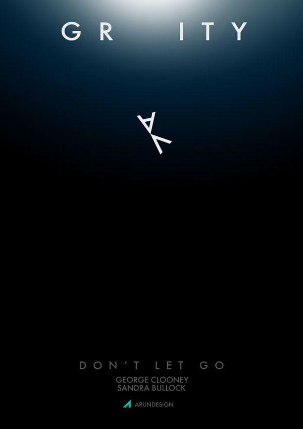 그래비티 포스터 그래픽 디자인. 우주라는 주제에 걸맞게 중력이 없는 것을 특징으로 주제를 잘 표현하고 있는 듯 하다.