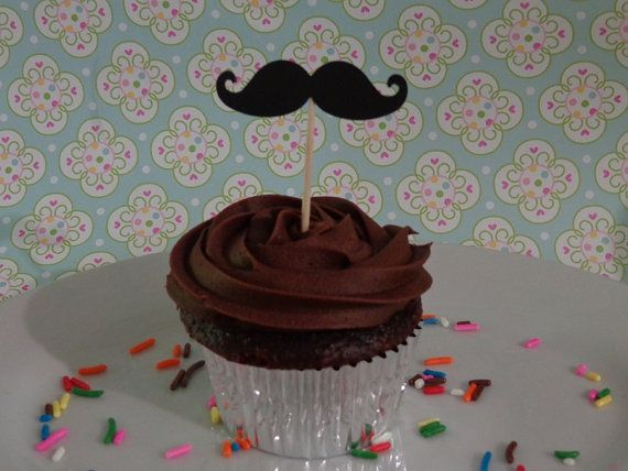Check out this item in my Etsy shop https://www.etsy.com/listing/123867378/24-black-mustache-food-picks-cupcake