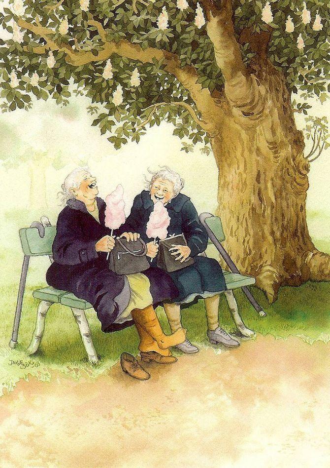 Открытка с бабками, бракосочетанием гифы