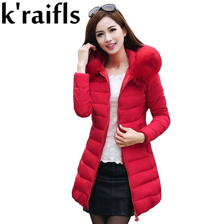 k'raifls Womens Winter Jackets New Long Down Cotton Parka Female Jacket Coat Plus Size Slim Casual Outwear Fashion Fur Coat 2017