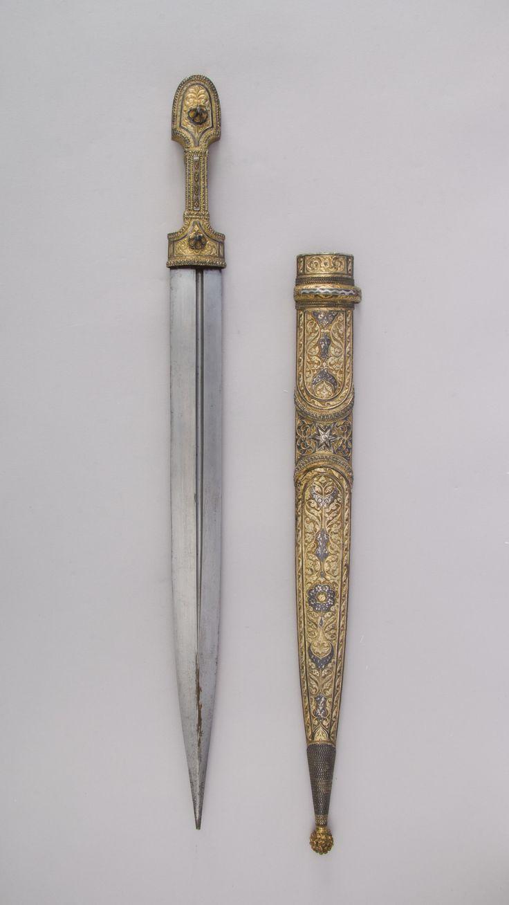 Dagger with Sheath. Date: early 19th century. Culture: Caucasian. Medium: Steel, silver, niello, gold.