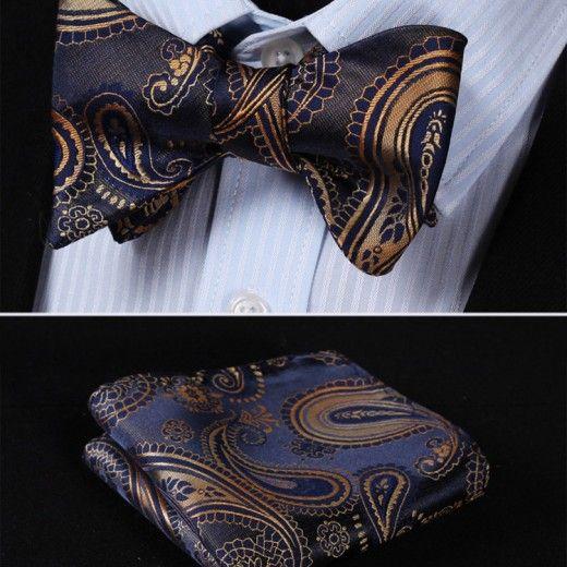 Elegantný hodvábny set - motýlik a vreckovka v modro-zlatej farbe