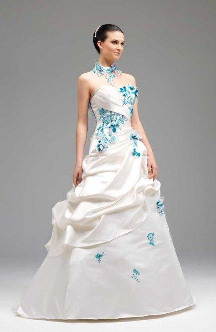 Robe de marie bleu turquoise