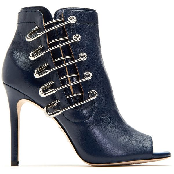 Navy The Unity Leather Bootie ❤ liked on Polyvore featuring shoes, boots, ankle booties, navy blue bootie, navy booties, navy leather booties, navy leather boots and leather bootie