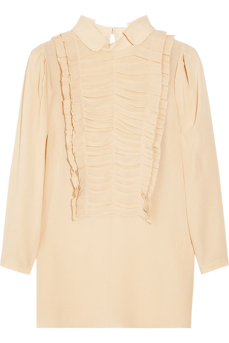 Chloé Pleat-detailed silk-georgette blouse