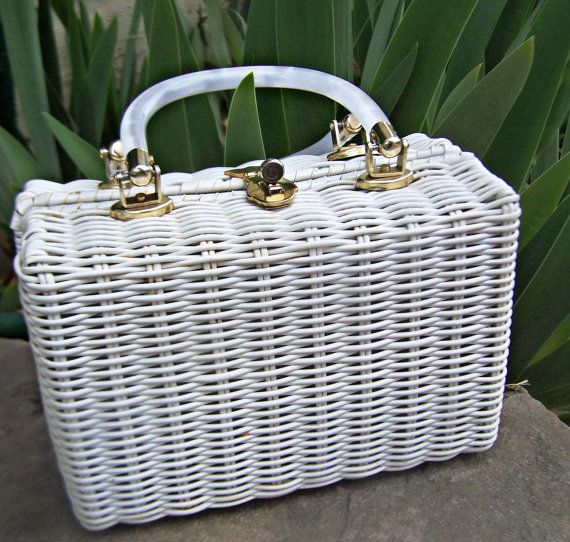 Vintage Basket Style Handbag, Lesco Lona Hong Kong White Wicker with Pearly Lucite Handles, 1960s Wicker Purse