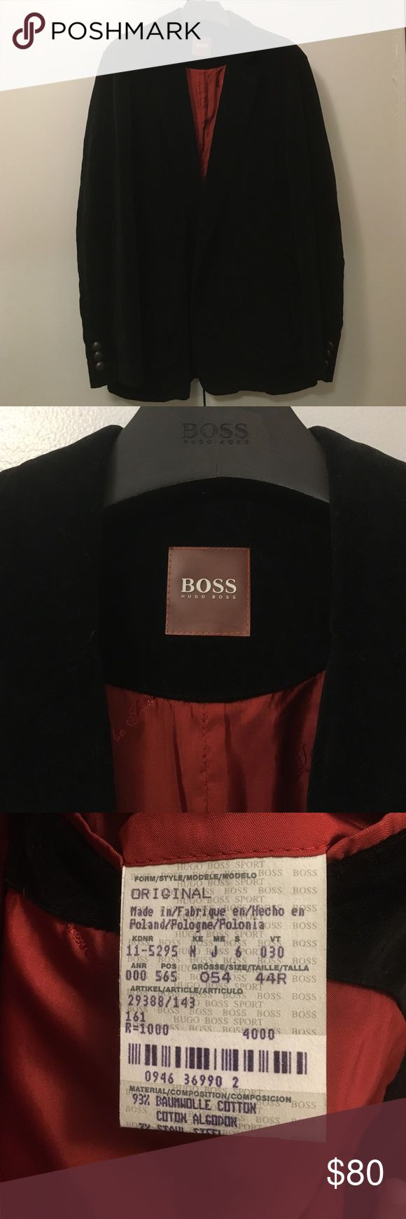 Hugo Boss Orange - velvet jacket Super trendy Hugo Boss velvet jacket - Black Hugo Boss Suits & Blazers Sport Coats & Blazers