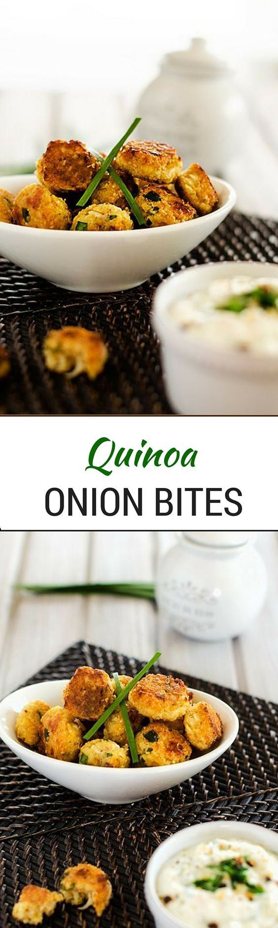 Onion Quinoa Bites - These Quinoa Onion Bites are the perfect healthy finger food!  Gluten Free with a Vegan Option! - WendyPolisi.com