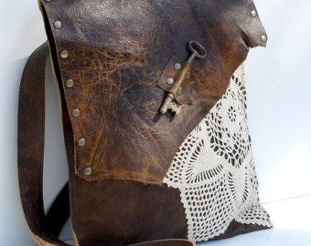 Leather Boho Messenger Bag with Antique Key and by UrbanHeirlooms
