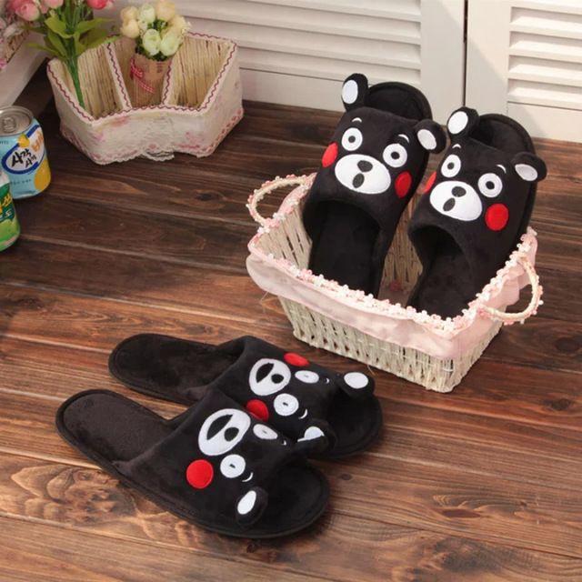 2016 творческой пары кумамото медведь плюшевые тапочки голова рыбы, Non-slip домашняя обувь, Бесплатная доставка