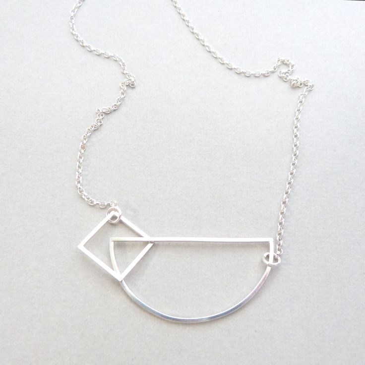 Square/semi circle necklace in silver // Minimal luxe handmade jewellery by Elin Horgan