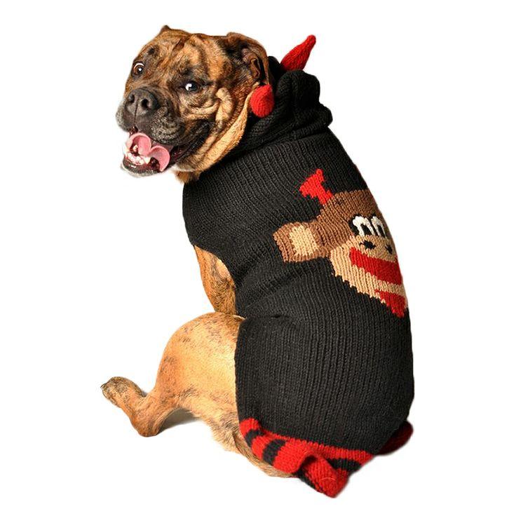 Smiling Devil Monkey Organic Wool Dog Sweater Knit Hoodie for 2-120 lb ...