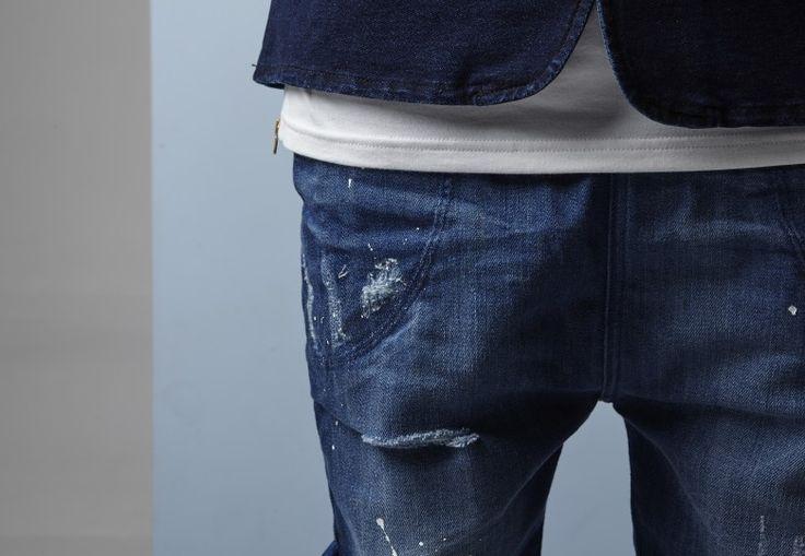 Blue denim paint splattered Zespy