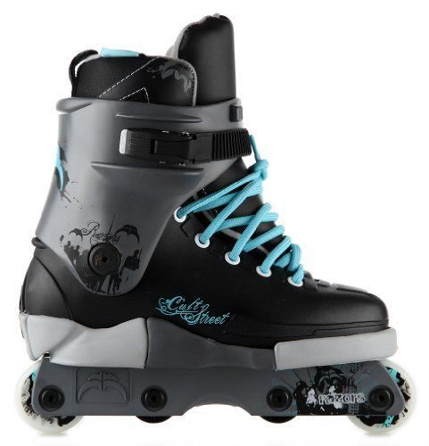 Razors Cult Street Blue 2013 Aggressive Skates by Razor. $99.95. Razors perfects their popular Cult skate design to give beginning and intermediate level rollerbladers an aggressive skate that they can take to the street and local skate park to improve their skills at an affordable price.The Razors Cult Street aggressive skate comes in a new and improved look that incorporates a black, gray and aqua color scheme with graphics. All of the parts can easily be replaced or ...