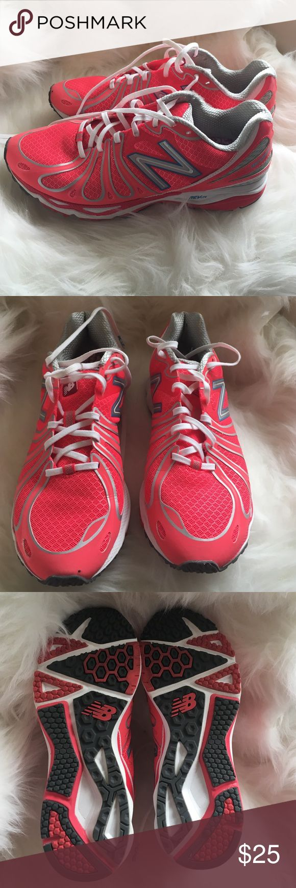 Used Once! New Balance Sneakers Used Once and it was indoors on my treadmill. New Balance Sneakers Barringer 890 collaboration with Susan G Komen for the cure. They retail for over $70. Super lite Sneakers. New Balance Shoes Sneakers