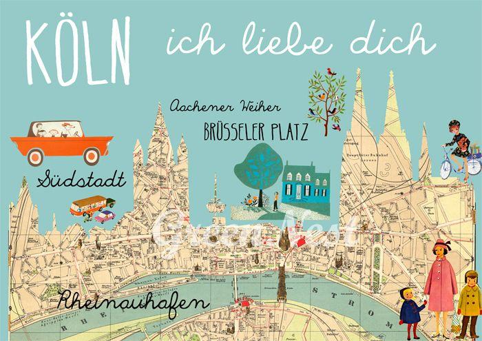 Köln Poster aus einem alten Stadtplan angefertigt.    Die Illustration hat DIN A3 Größe und ist auf stabilem, qualitiativ hochwer...