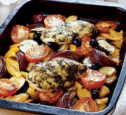 Mediterranean chicken with roasted vegetables--just so i don't forget where i saw this--delicious every. single. time.