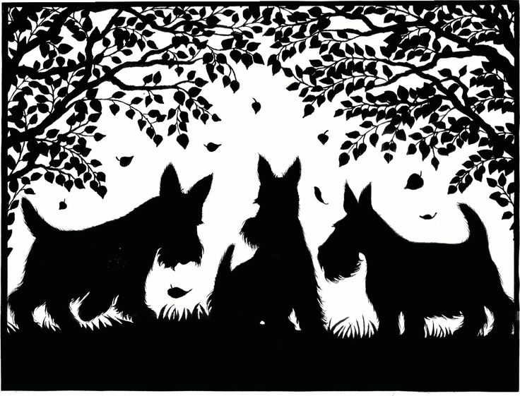 Scottish terrier paper cutting art - do different breed but keep trees