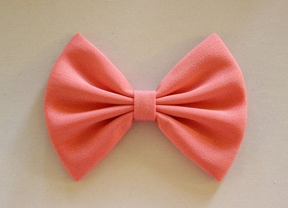 "4.5"" coral fabric hair bow clip, salmon pink bow, hairbow for teens kids, hair bow for women, solid color hair bow, girls hair bow barrette on Etsy, $3.99"