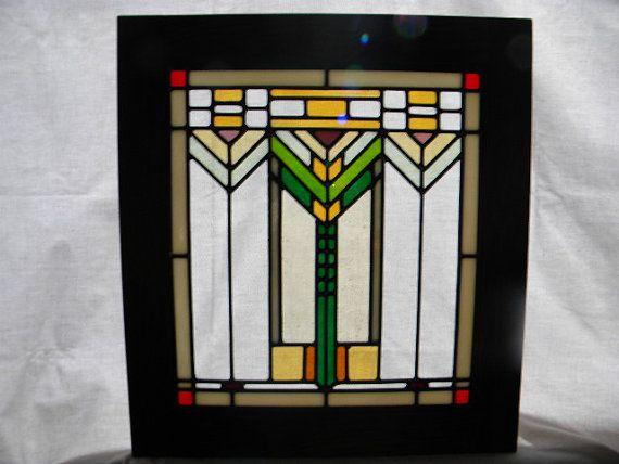 Three Wheat Stalk Stained Glass Window by charlesartglass on Etsy, $225.00