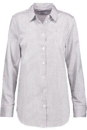 рубашка в тонкую полоску может стать отличной альтернативой белой рубашке
