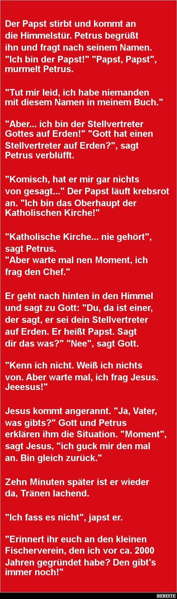 Der Papst stirbt und kommt an die Himmelstür | DEBESTE.de, Lustige Bilder, Sprüche, Witze und Videos: