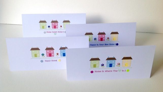 New Home Cards, Set of 4,Assorted Sentiment,'Happy Home'Design,Pk of Four £2.85
