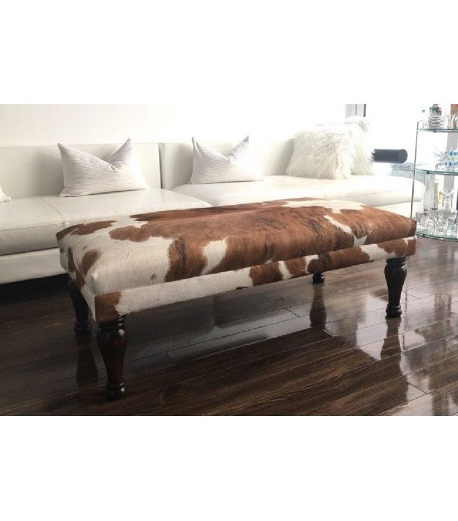 Leather Brazilian Cowhide Ottoman Coffee Table Bench