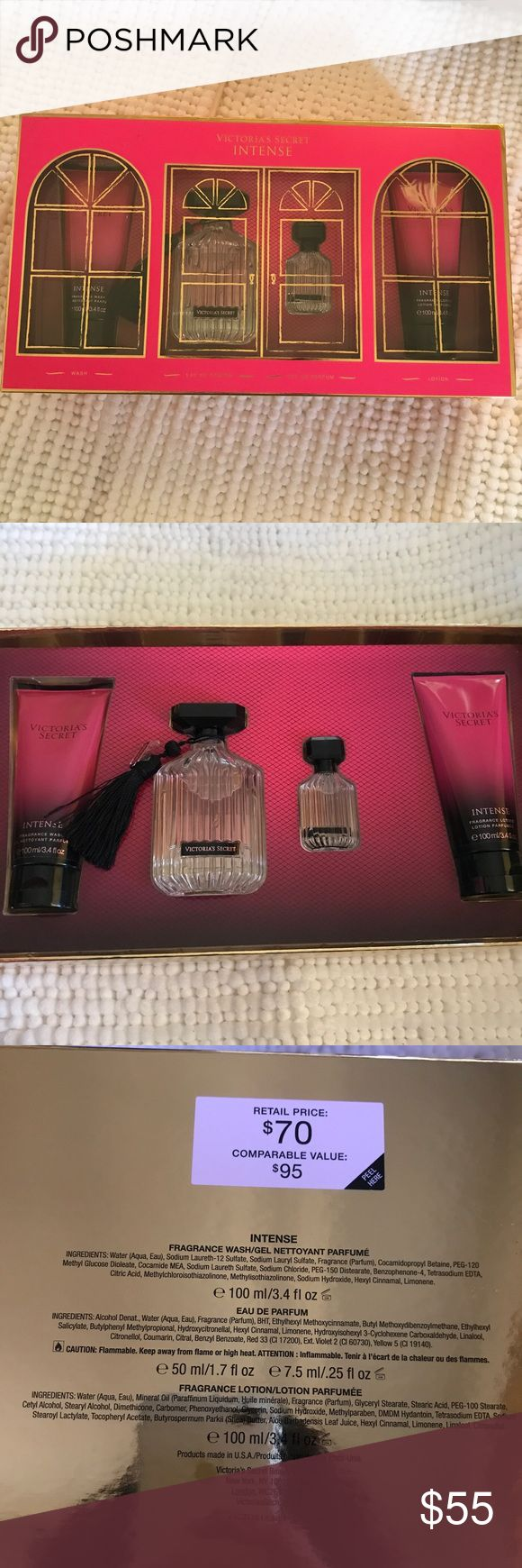 "Victoria secret intense perfume set New Victoria's Secret ""Intense"" Parfum Gift Set Fragrance Wash&Lotion, $95 Value selling for $55 plus shipping  1 - Eau de Parfum - 3.4 FL OZ/100 ML Bottle 1 - Eau de Parfum  - 2.5 FL OZ/7.5 ML Bottle 1 - Fragrance Wash - 3.4 FL OZ/100 ML 1 - Fragrance Lotion - 3.4 FL OZ/100 M Victoria's Secret Other"