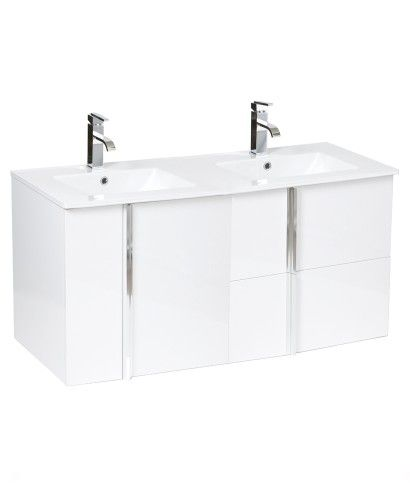 Athena White 2 Door 2 Drawer 120cm Wall Hung Vanity Unit and Basin - Double Sink Vanity Units - Bathroom Furniture