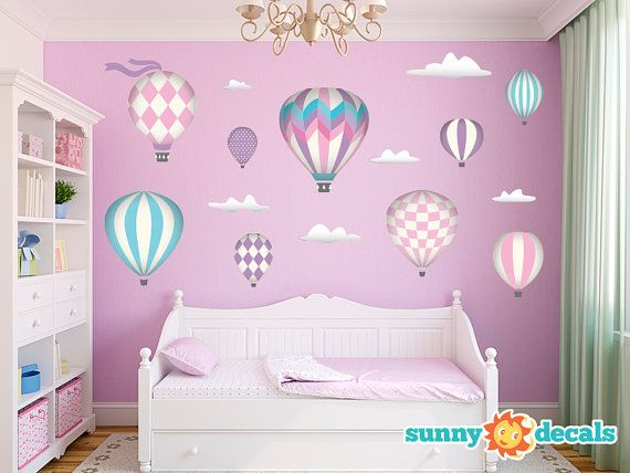 hot air balloons fabric wall decals with 9 hot air balloons and 6 clouds pink jumbo sized available in 5 color options and 2 sizes