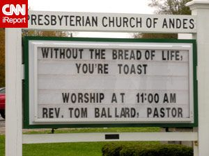 Church sign  When we say give us this day our daily bread it means to feed our soul like we feed our body daily(reading scripture) Without food we would die and so without the word of God our spirit is dead.  Many people walk around today already dead.