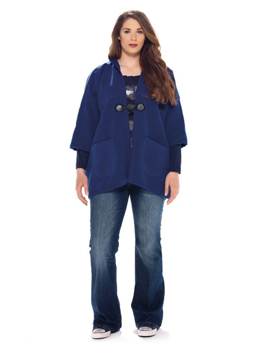 mat. F/W2014/15. Hooded cape & Classic denim blue bootcut jeans (Vesna Trend)