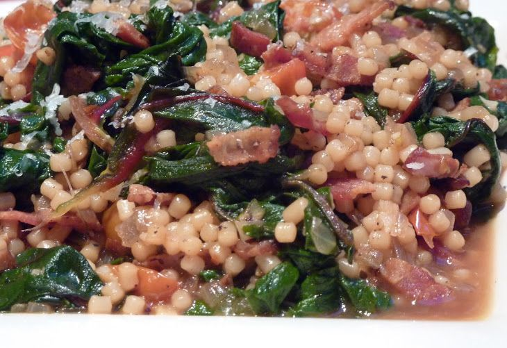 Swiss Chard Bacon Saute with Pasta (Italy For Almost Free) Recipe