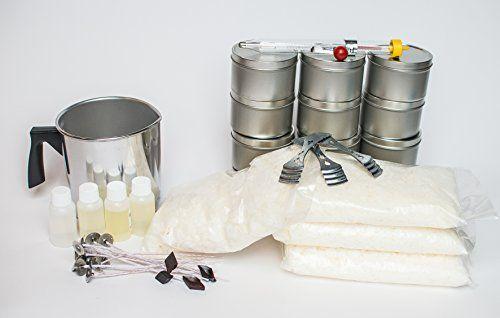 Kit includes: (4) 1 oz. fragrances, (4) Diamond color chips, (12) 8oz. #Candle Tins, (1) 1lb Pouring Pot, (3) Bow Tie #Clips, (14) Pre-Wicks, (4) 1lb. Bags of Pre...