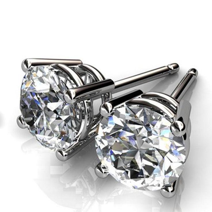 Round Cut 1.00ct Diamond Earrings Stud 14Kt White Gold VVS1/D 959 | eBay