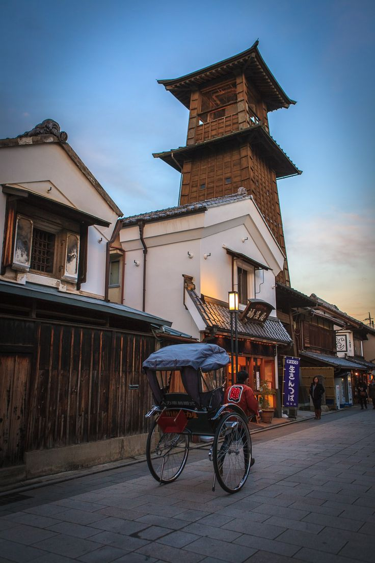 Old Bell Tower and Rickshaw in Kawagoe, Saitama, Japan 川越