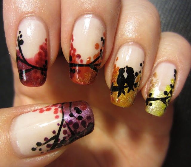 Love Birds Nail Art: Pinned By Www.SimpleNailArtTips.com INTERMEDIATE NAIL ART