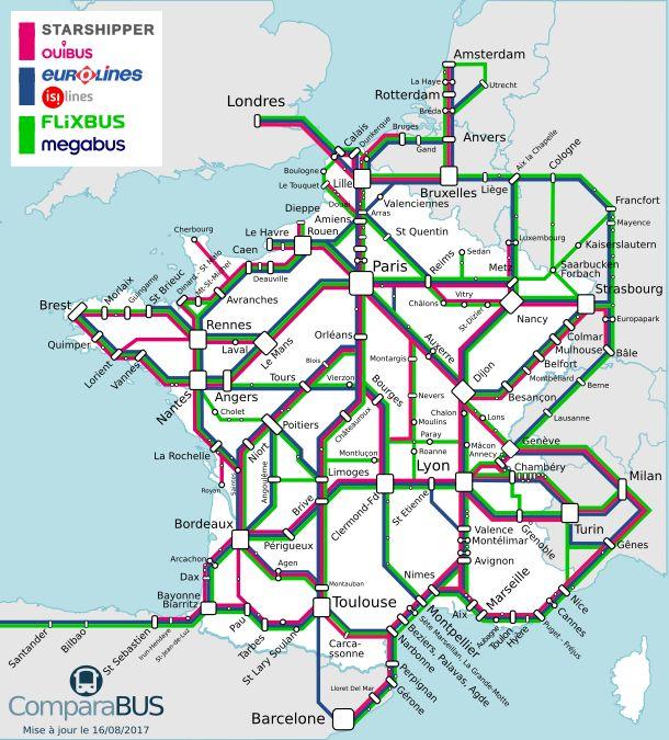 La carte du réseau de cars depuis la France (source : ComparaBUS)