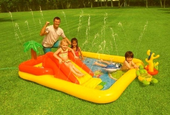 This looks like a fun in the backyard. But, from reviews it sounds best for those between 18 months to 3 years old.