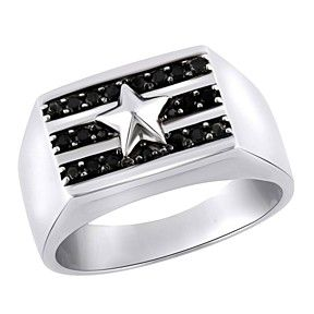 0.31 Ct Round Black Spinel White Gold Over Sterling Silver Gents Ring by JewelryHub on Opensky