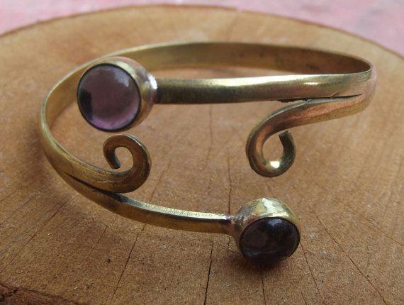 Brass bracelet with amethyst stone brass by silveringjewelry