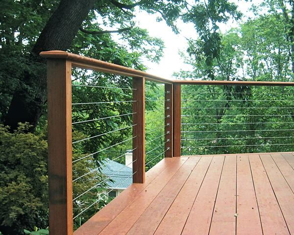 Cable Balusters Can Be Integrated Into A Wood Rail System