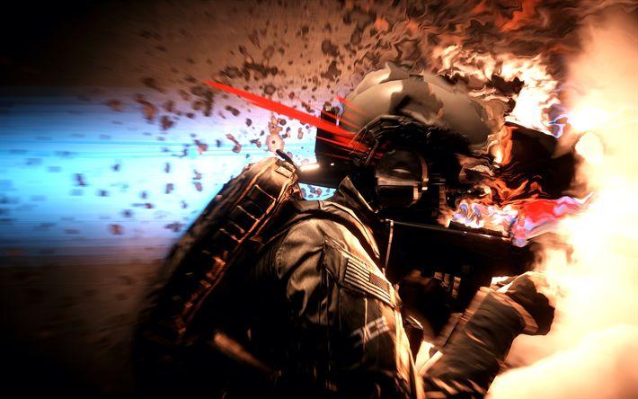Download wallpapers 4k, Battlefield 4, art, soldier, action-adventure