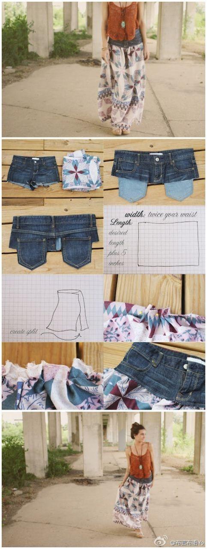 Une jupe bohème à partir d'un vieux jean.  tuto couture