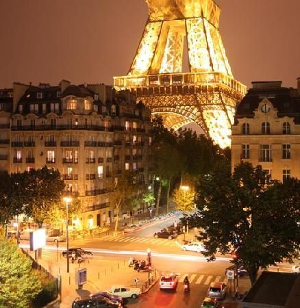 night view from the Pullman Paris Hotel, 18 Avenue De Suffren,Paris, France