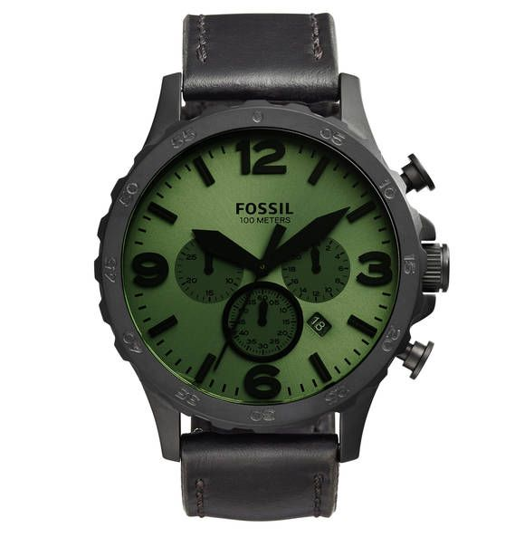 FOSSIL NATE MENS CASUAL Herrenuhr JR1519, Chronograph schwarz