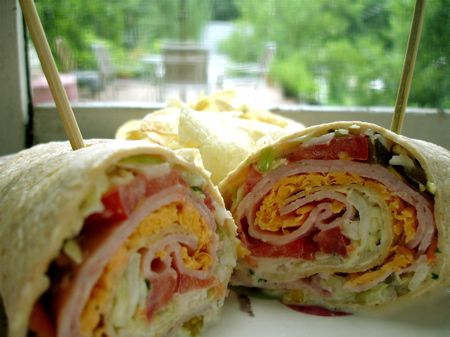 Crunchy Ham Wrap | This yummy, healthy sandwich recipe was inspired by my friend Bonnie's recipe. I make mine a little different, but both versions are wonderful. | From: chimdeep.com