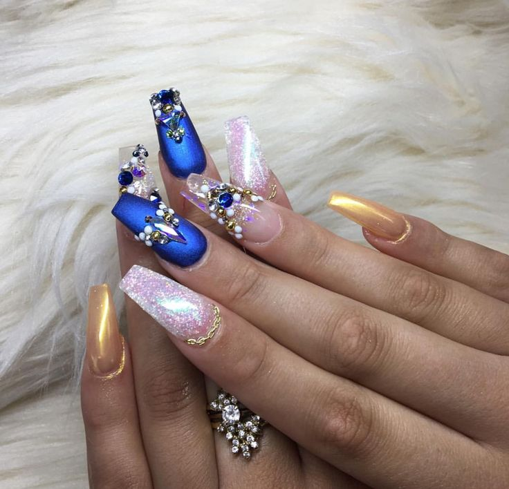 Matte cobalt blue, gold, and white crystal coffin nails