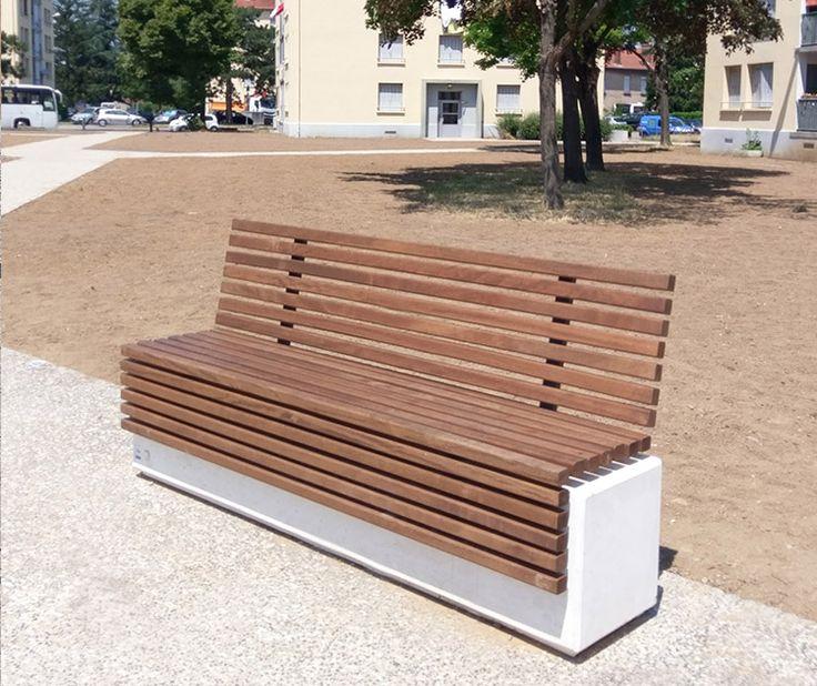 Guyon Mobilier Urbain Banc Béton Assise Bois Givors (1). ConcreteFurniture Wood